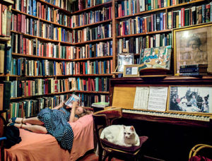 Shakespeare & Company, Paris, with cat